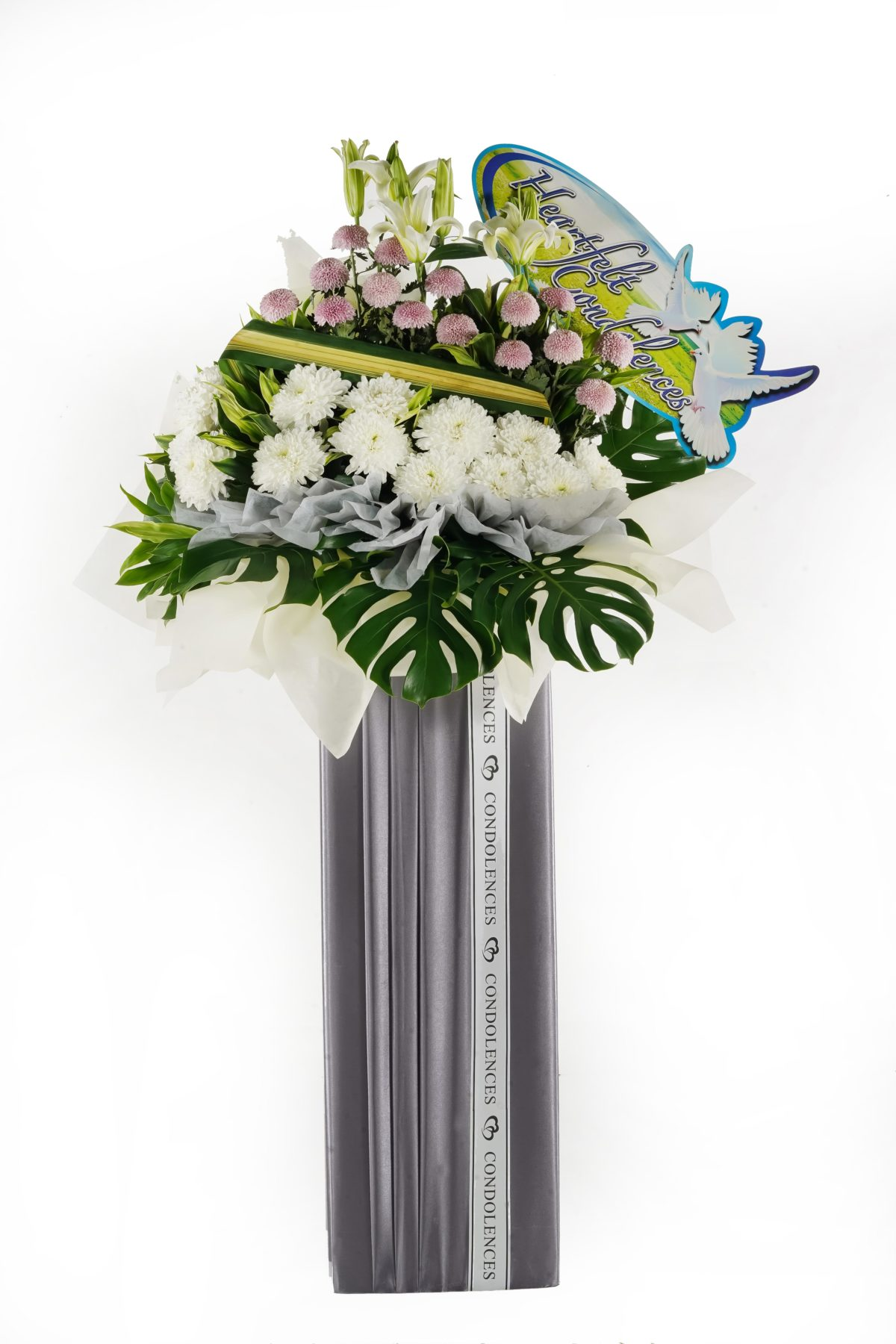 Purple Angel Funeral Flower Stand